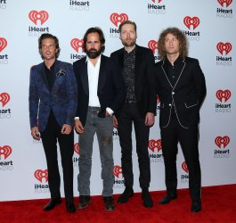 The Killers arrive in the press room for the iHeartRadio Music Festival in Las Vegas