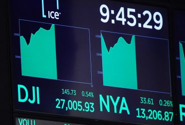 DJIA reaches 27,000 for the first time at the NYSE in New York