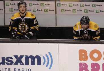 Bruins react to loss against Capitals at TD Garden in Boston, MA.