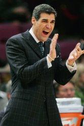 Villanova's head coach Jay Wright takes on USF at NCAA Big East Basketball Championship in New York