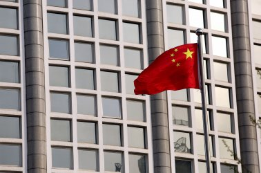 China's national flag flies in front of the Ministry of Foreign Affairs in Beijing, China