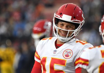 Chiefs quarterback Patrick Mahomes smiles prior to game against the Rams