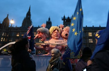 Brexit Protesters campaign outside Houses of Parliament