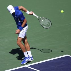 Novak Djokovic plays an exhibition match at Indian Wells