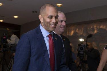 Rep. Hakeem Jeffries arrives at a Democratic caucus meeting