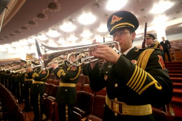 China's military band plays at the CPPCC in Beijing, China