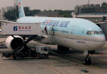 A Korean passenger jet arrives in Beijing, China