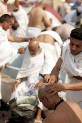 Muslims pilgrims in Mecca for Hajj .
