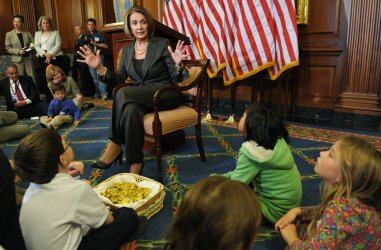Speaker Pelosi (D-CA) holds a press conference with children in Washington