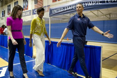 First Lady Michelle Obama and Samantha Cameron attend a children's mini-Olympics in Washington