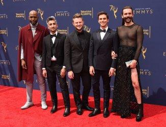"Karamo Brown, Tan France, Bobby Berk, Antoni Porowski, and Jonathan Van Ness of ""Queer Eye"" attend the Creative Arts Emmy Awards in Los Angeles"