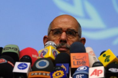 Head of IAEA Mohamed ElBaradei attends joint press conference in Tehran