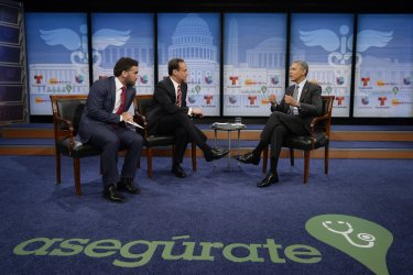 US President Barack Obama participates in a town hall event on affordable health insurance in Washington, D.C.