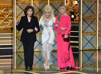 Lily Tomlin, Dolly Parton and Jane Fonda onstage at the 69th annual Primetime Emmy Awards in Los Angeles