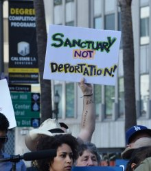 Deportation rally for Romulo Avelica-.Gonzalez held in Los Angeles