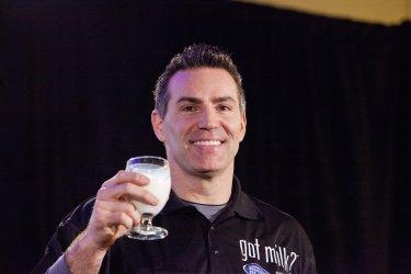 Kurt Warner pushes milk at Super Bowl XLVII in New Orleans