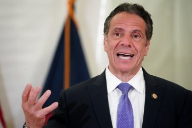 New York Governor Andrew Cuomo holds an event on COVID in New York