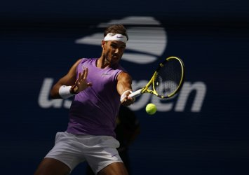 Rafael Nadall of Spain hits a forehand at the US Open