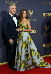 Hilaria Baldwin and Alec Baldwin attend the 69th annual Primetime Emmy Awards in Los Angeles