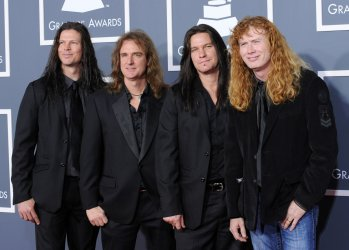 Megadeth arrives at the 53rd annual Grammy Awards in Los Angeles