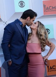 Eric Decker and Jessie James attend the 51st  annual Academy of Country Music Awards in Las Vegas