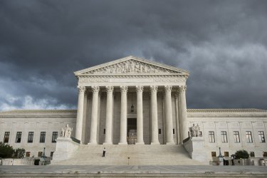 Storm clouds over the Supreme Court in Washington, D.C.
