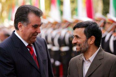 Iran's President Mahmoud Ahmadinejad meets Tajikistan's President Imomali Rakhmonov in Tehran