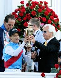 Jockey John Velazquez and Trainer Bob Baffert Celebrates after Winning147th Running of the Kentucky Derby