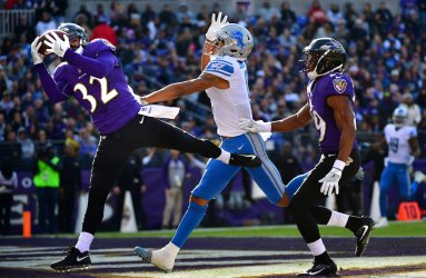Baltimore Ravens free safety Eric Weddle breaks up a pass