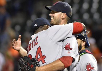 Boston pitcher Rick Porcello is congratulated by David Ortiz after his 5-2 complete game win over Baltimore
