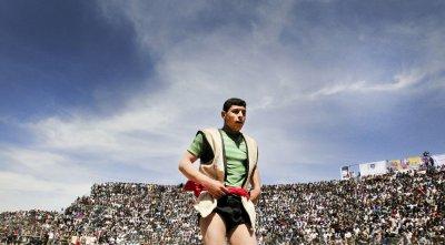Traditional Bachokheh wrestling competition in Esfarayen, Iran
