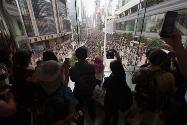 People take part in a massive protest in Hong Kong
