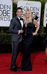 Rob Lowe and Sheryl Berkoff attend the 73rd annual Golden Globe Awards