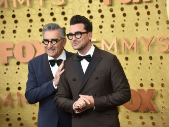 Annie Murphy, Eugene Levy and Daniel Levy attend Primetime Emmy Awards in Los Angeles