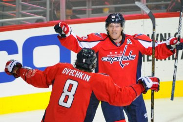 Backstrom Congratulated by Ovechkin
