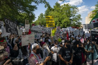 Protesters Gather at Embassy of Israel in Washington, DC