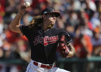 Indians pitcher Clevinger throws in ALDS Game Three