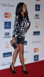 Brandy attends the Clive Davis pre-Grammy party in Beverly Hills, California