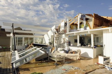Tornado from Hurricane Irene damages homes in Sandbridge, Virginia