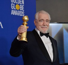 Brian Cox wins an award at the 77th Golden Globe Awards in Beverly Hills