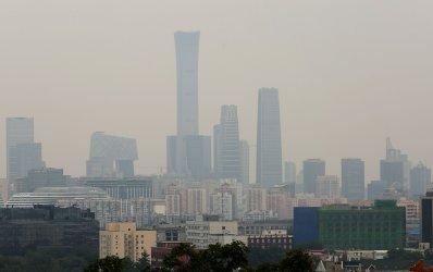 A heavy haze hangs over Beijing, China