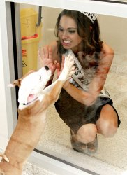 Miss New York USA Joanne Nosuchinsky bejewels the kings and queens of the ASPCA Animal Kingdom