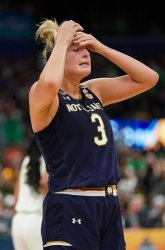 Notre Dame' Marina Mabrey reacts in the NCAA Women's Basketball Championship