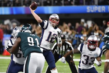 Patriots' QB Tom Brady throws during Super Bowl LII in Minneapolis