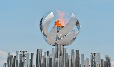 The Second Olympic Flame Cauldron Display at the Ariake Yume-no-Ohashi Bridge