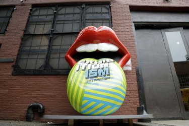 Giant Rolling Stones art Installations for Exhibitionism in NYC