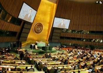 Chinese President Hu Jintao addresses the General Assembly at United Nations