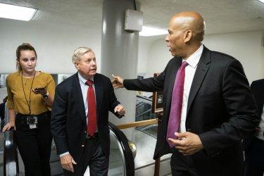 Senators Walk Through Senate Subway to Vote