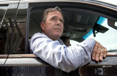 Jeb Bush visits a polling location in South Carolina