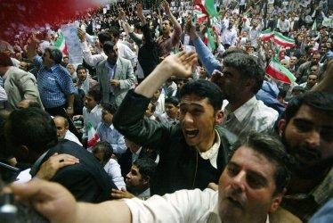 Iran's President Mahmoud Ahmadinejad holds a campaign rally in Tehran